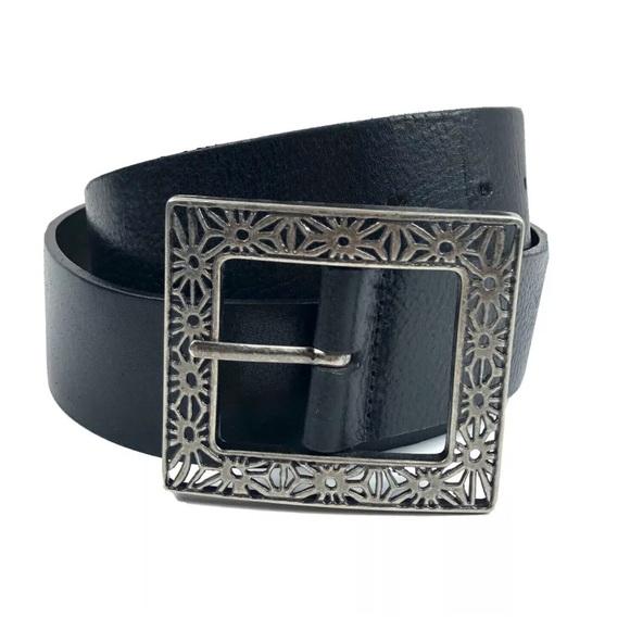 Harolds Italian Leather Belt Silver Square Buckle
